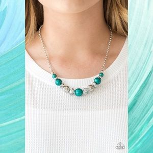 The Big Leaguer pearl Green Necklace Set